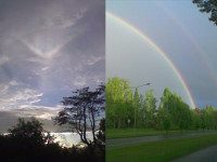 Simultaneous upper tangent arc and rainbows