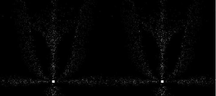 An animated stereo simulation of streetlight halos