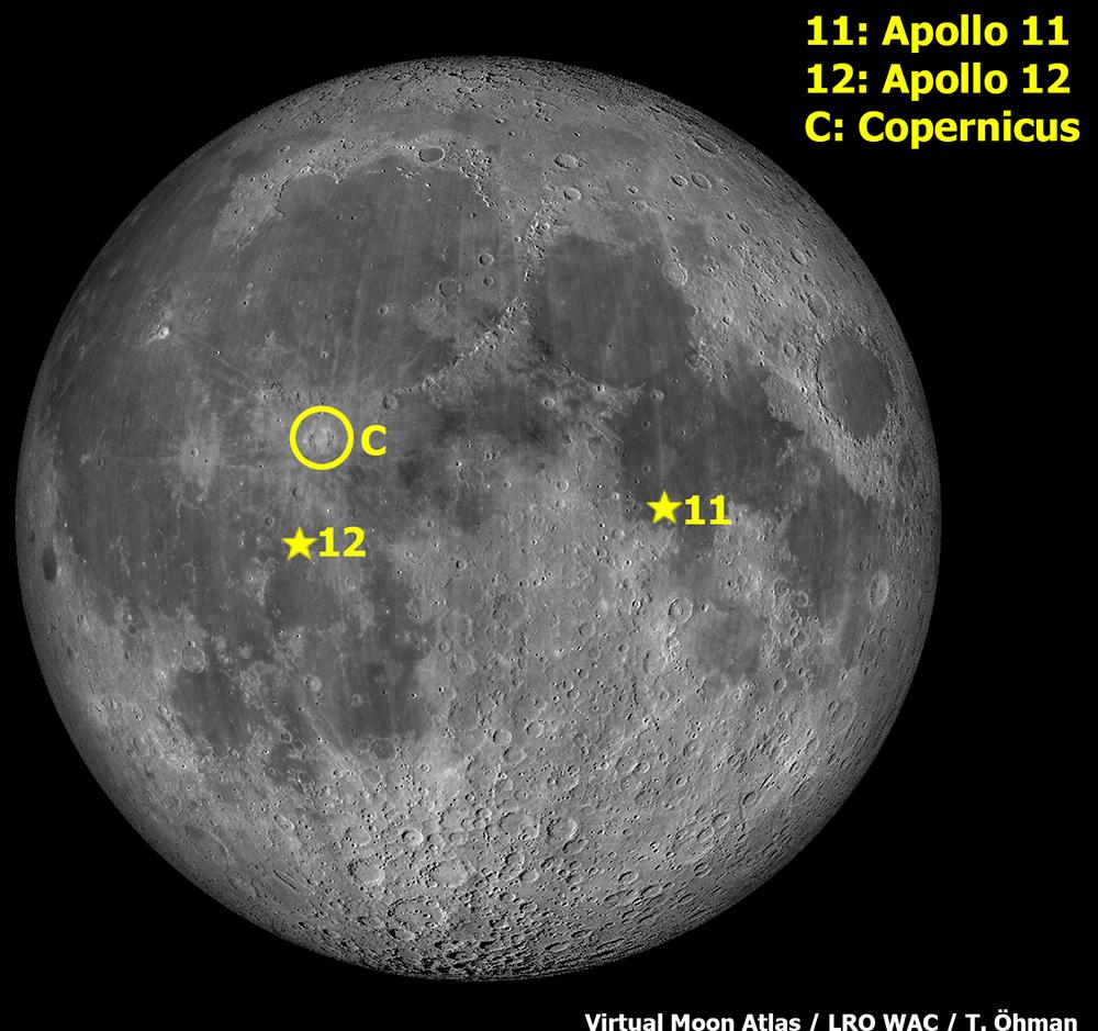Copernicuksen, Apollo 11:n ja 12:n sijainti Kuussa.
