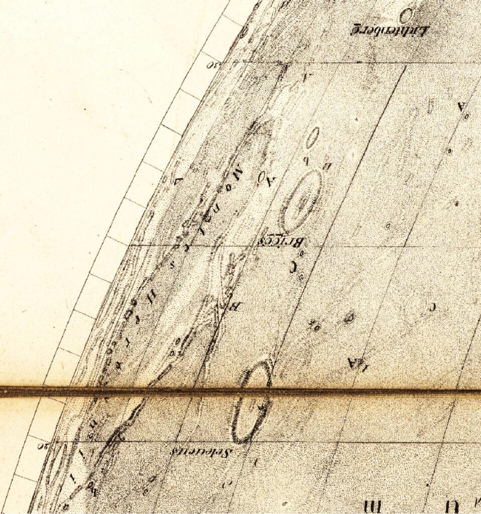 Herkynisiä vuoria kuvaava osa vanhasta piirretystä Mappa Selenographica -kartasta.