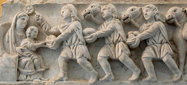 Roomalaisen sarkofagin kyljen reliefi 400-luvulta.