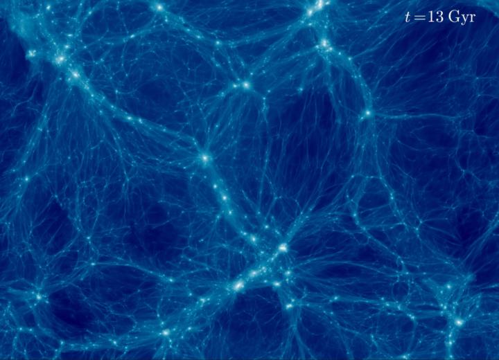 Tähdet muodostavat galakseja, galaksit galaksijoukkoja ja galaksijoukot lopulta suurimpia universumin rakenteita, kosmisia rihmoja, joiden väliin jää suuria tyhjiä kuplia, voideja, jotka sisältävät vain hyvin vähän tai ei ollenkaan galakseja. Nämä galaksirihmat on havaittu taivaalla, ja jos tutkitaan pimeän aineen seikkailuja tietokoneella miljardien vuosien saatossa, sen havaitaan muodostavan vastaavia rihmoja. Usein sanotaankin, että pimeä aine on universumin selkäranka. Tässä on kuvankaappaus yhdestä tällaisesta simulaatiosta eli tietokonemallista. Universumin selkärangan rakentumista lähes tasajakoisesta alkutilasta voi seurata oheisesta videosta. Kirkkaimmissa solmukohdissa on runsaammin pimeää ainetta, ja ne ovat myös paikkoja, joissa sijaitsevat suurimmat galaksiryppäät. Tältä universumi suunnilleen näyttäisi, jos katsoisimme sitä hyvin kaukaa. Oikean yläkulman laskuri kertoo ajan kulkevan: Gyr tarkoittaa miljardia vuotta. Simulaatio kattaa koko universumin kehityksen. Video: https://www.cfa.harvard.edu/…/Movies/movie8_br05.0_fps35.mp4 Kuva Benedikt Diemer ja Phil Mansfield Lisää saman tiimin videoita ja tiedot käytetyistä parametereista: http://www.benediktdiemer.com/visualization/movies/