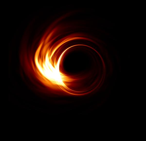 Suurhanke Event Horizon Telescope (EHT) yrittää saada kuvattua Sagittarius A*:n suoraan, ja kuvaushanke on jo käynnissä. Tuloksia odotellaan yhä. Miltä aukko näyttäisi radiokuvissa? Tietokonesimulaatioiden mukaan näyttäisi tältä, jos aukkoa katsottaisiin yläviistosta. Hurja painovoima vääntää aukkoa kiertävän kaasukiekon säteilemän valon renkaaksi aukon ympärille. Tumma pyöreä alue on mustan aukon varjo, tapahtumahorisontin rajaama alue. Kuva Hotaka Shiokawa Lisää EHT-kuvia ja -animaatioita: http://eventhorizontelescope.org/simulations-gallery