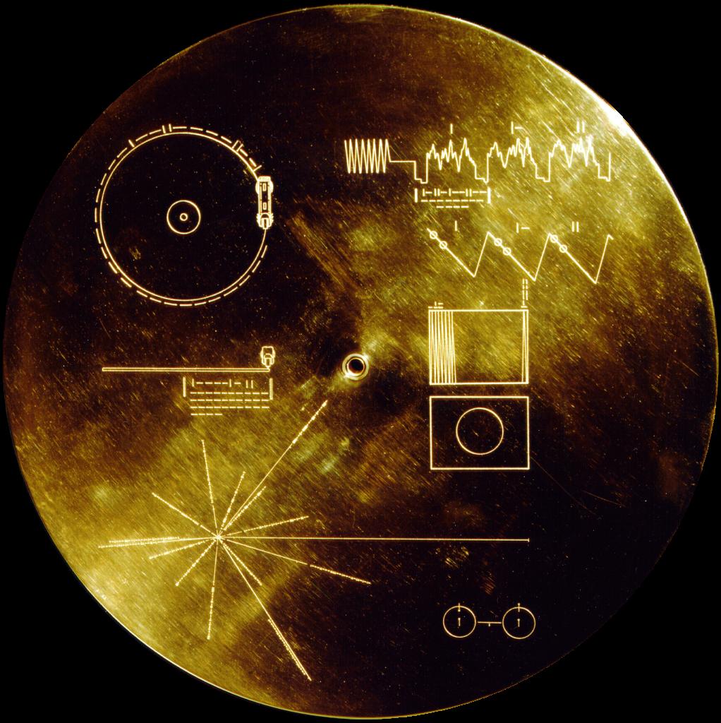 Voyager-luotaimen mukana matkanneen levyn kansi.