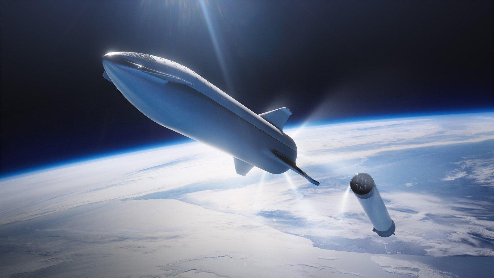Starship ja SuperHeavy SpaceX:n piirroksessa