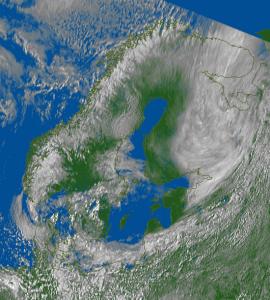 Kuva 5. Satelliittikuva 14.5.2014 klo 12:00. Kuva: Eumetsat/Ilmatieteen laitos