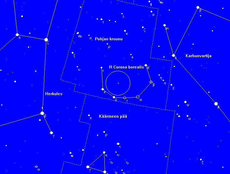 R Corona borealiksen sijainti Pohjan kruunun tähdistössä. Kuva: Juha Ojanperä/Skymap pro 9.