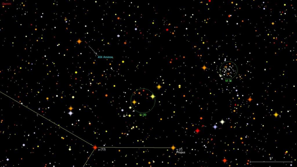 Asteroidi 404 Arsinoe tähtikartalla.