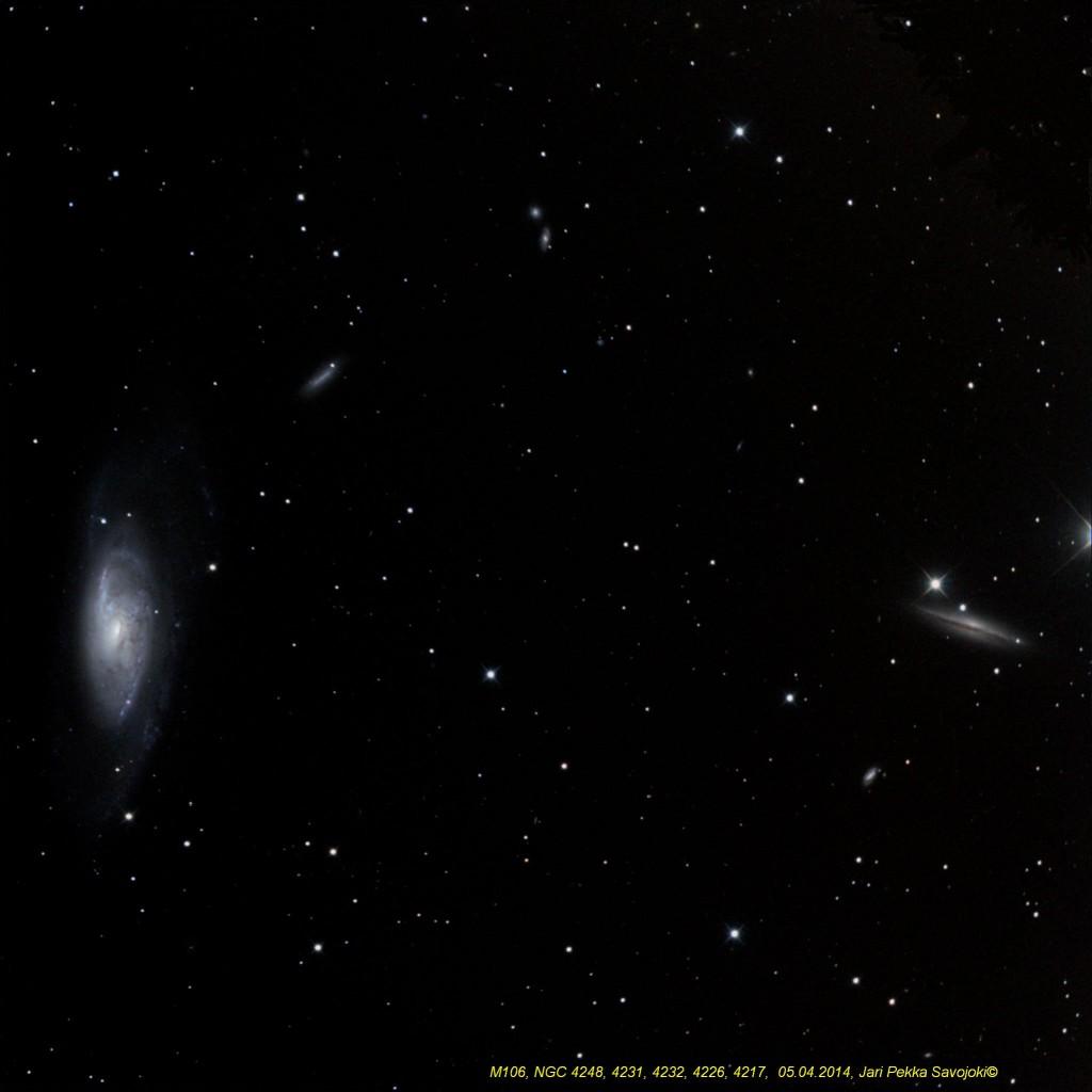 Messier 106 sekä galaksit NGC 4248, 4231, 4232, 4226 ja 4217. Kuva: Jari-Pekka Savojoki.