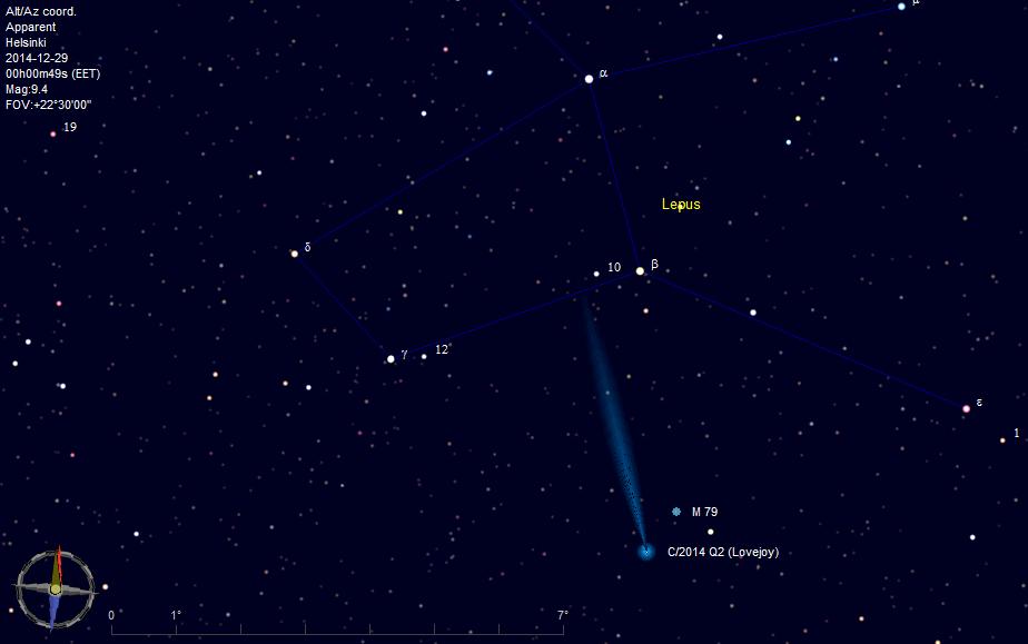 Kuva 1. Lovejoy ja M79 Helsingin horisontin mukaan 29.12.2014 klo 0:00.