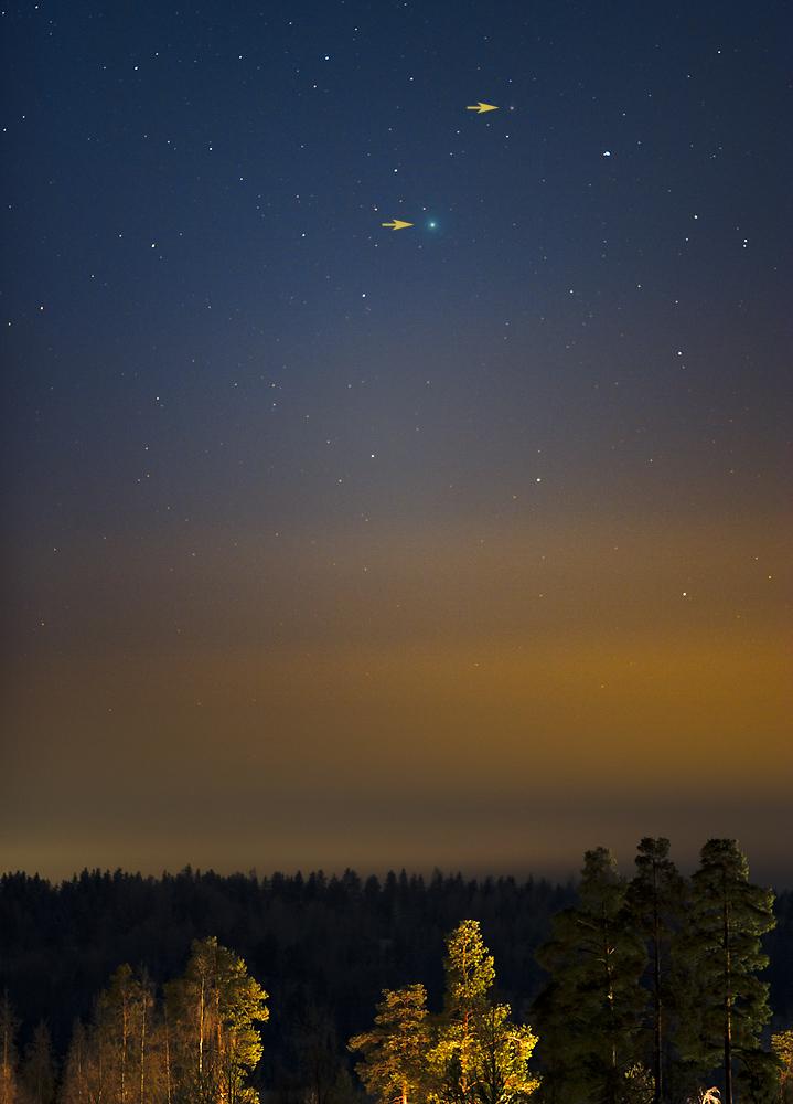 Komeetta C/2014 Q2 (Lovejoy) Vihdin taivaanrannassa 28.12.2014. Kuva: Kari Kalervo.