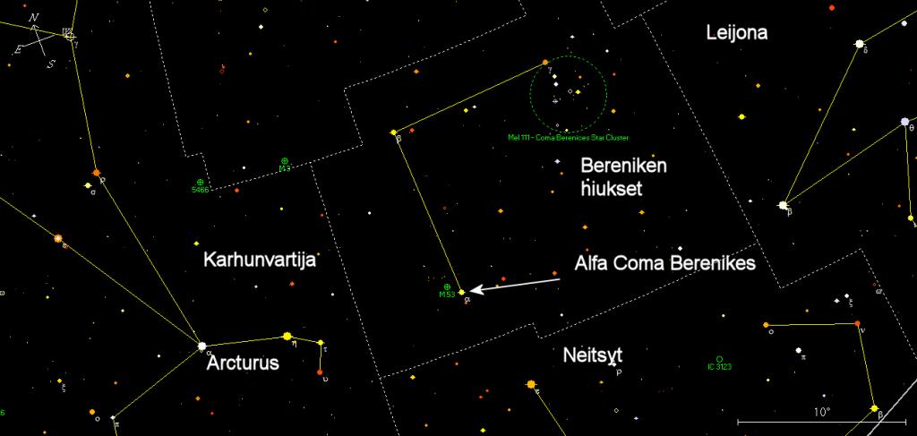 Kuva 1. Alfa Coma Berenikeen sijainti tähtitaivaalla.