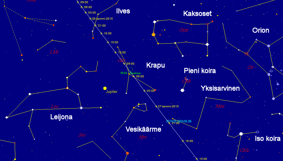 Asteroidi 357439 (2004 BL86):n rata taivaankannella lähiohituksen aikana.