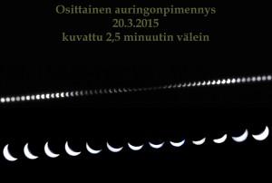 Kuvakollaasi auringonpimennyksen etenemisestä. Kuva: Jorma Koski.