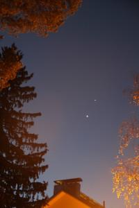 Venus, Jupiter ja Mars kohtasivat 28.10.2015. Kuva: Tero Hiekkalinna.