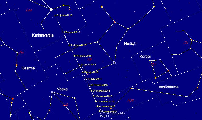 Komeetan C/2013 US10 (Catalina) rata taivaalla marras-joulukuun 2015 aikana. Kuva: Juha Ojanperä/Skymap Pro 9.