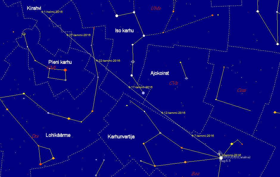 Komeetan C/2013 US10 (Catalina) rata taivaalla tammikuun 2016 aikana. Kuva: Juha Ojanperä/Skymap Pro 9.