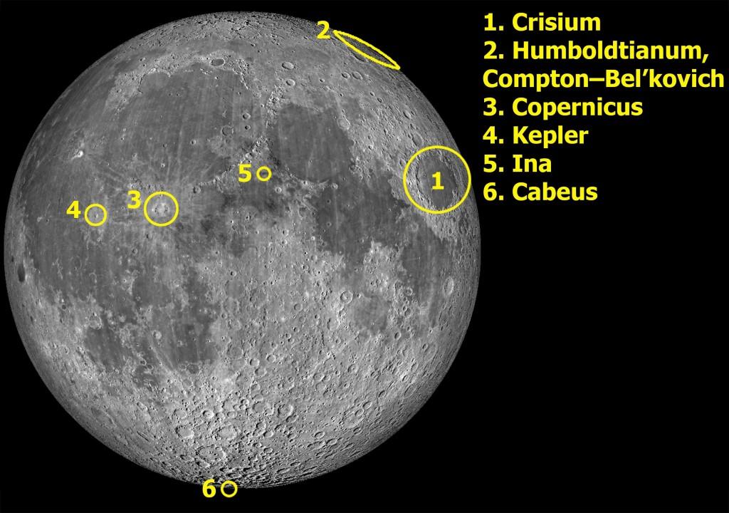 Kuva 2. Artikkelissa mainittujen lähipuolen ja libraatiovyöhykkeen kohteiden sijainnit. Kuva: Virtual Moon Atlas / LRO WAC / T. Öhman.