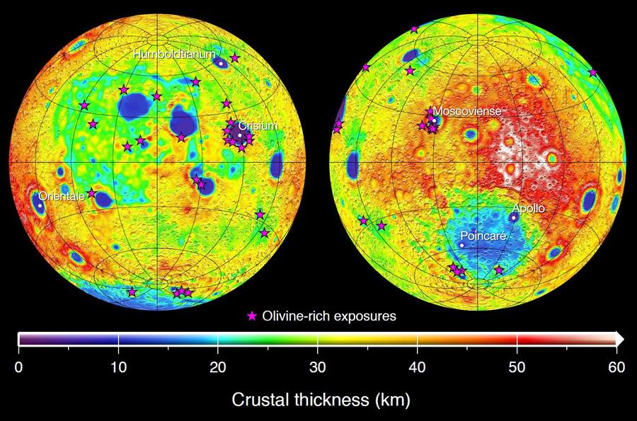 Kuva 1. Kuun kuoren paksuus kilometreissä GRAIL-luotainten mittausten pohjalta. Tähdet kuvaavat oliviinipaljastumien paikkoja. Kuva: NASA/JPL-Caltech/IPGP & Malaprade, Jarno.