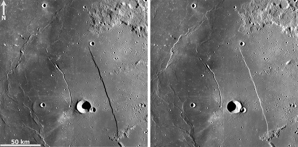 Kuva 4. Kaguya-luotaimen Terrain Cameran kuvista luoduissa mosaiikeissa korostuvat aamu- ja iltavalaistuksen erot. Myös Rupes Rectan ja Rima Birtin katkonaisuus näkyy hyvin. Kuva: JAXA / Kaguya TC / T. Öhman.