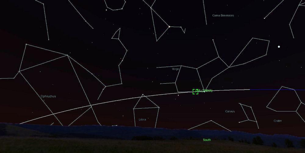 Avaruusasema ISS näkyy Neitsyen tähdistön alueella 13.1. aamulla.