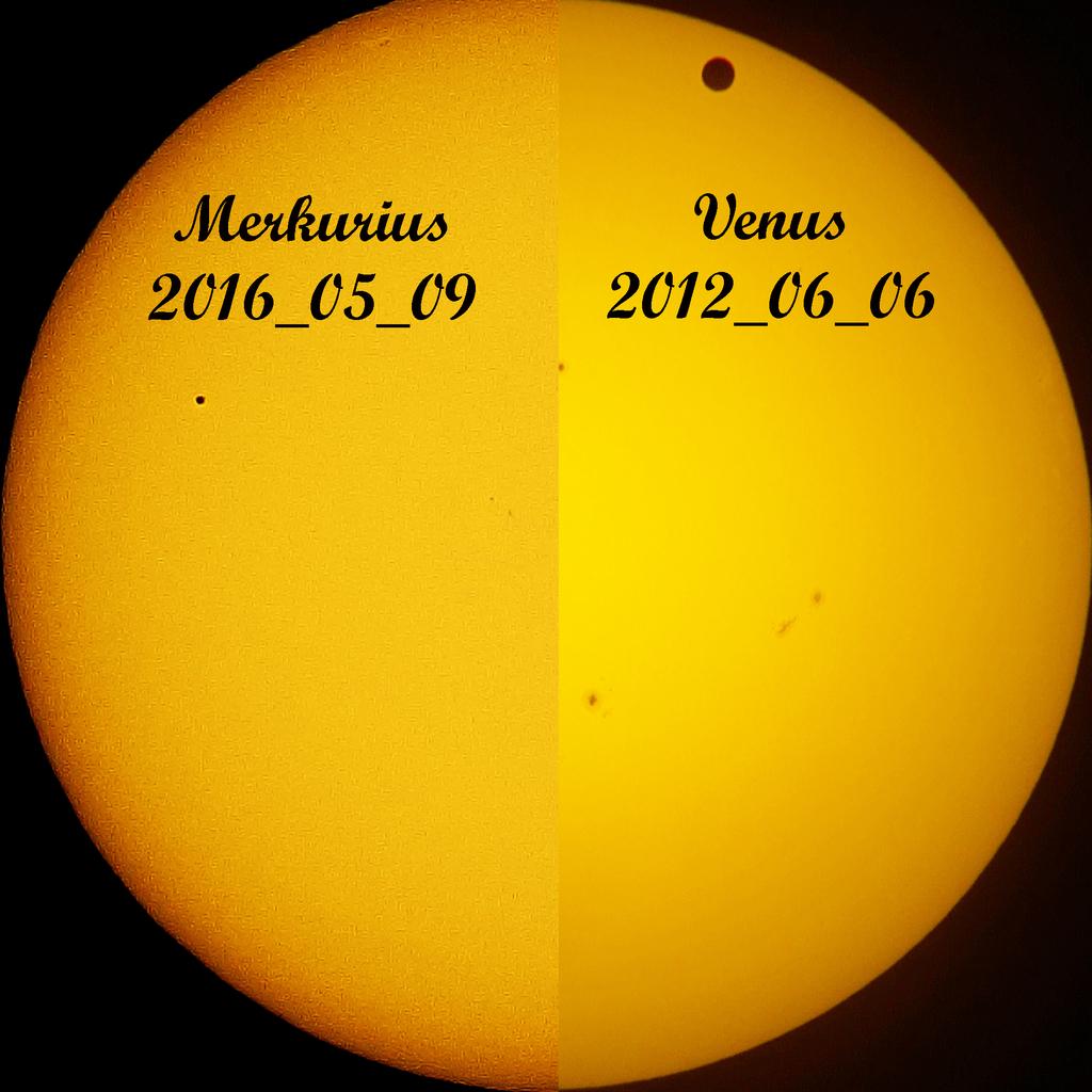 Merkuriuksen ylikulku ja samaan kuvaan sijoitettu Venuksen ylikulku 6.6.2012. Kuva: Vesa Vauhkonen