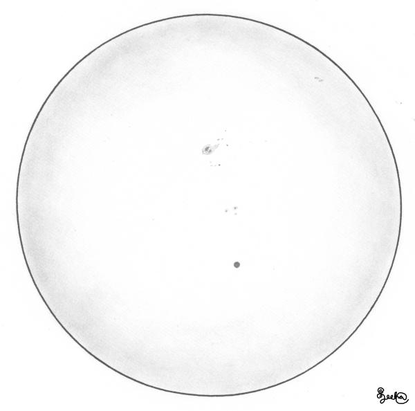 Merkuriuksen ylikulku piirroksena. Piirros: Juha Ojanperä
