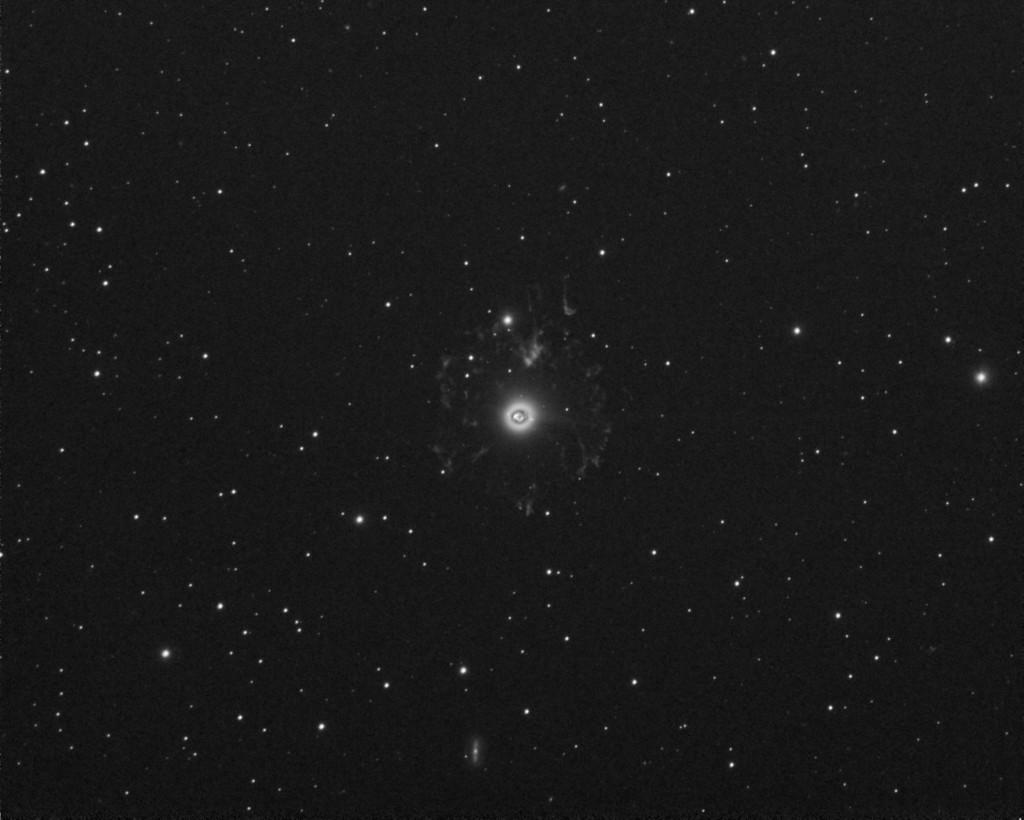 Kissansilmäsumu NGC 6543. Kuvassa näkyvät hyvin sekä sumun sisemmät- että ulommat osat. Kuva: Jouni Raunio.