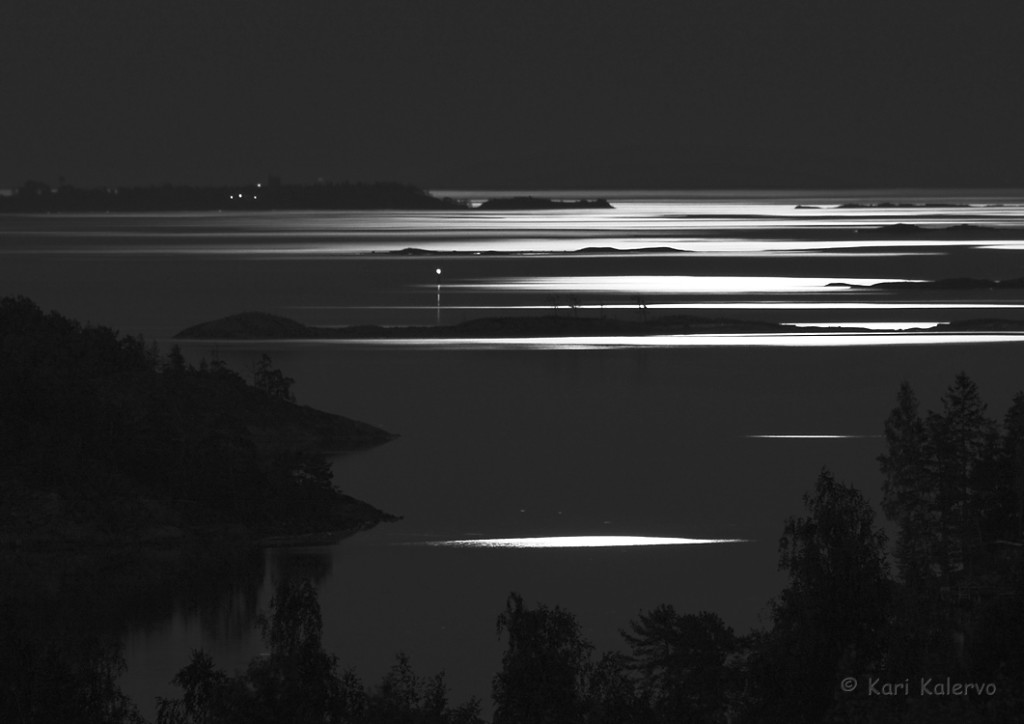 Kuunsilta öisellä, peilityynellä merellä. Samaan aikaan rantakalliolla kuului kehrääjälintujen merkillinen hyrinä. Kuva: Kari Kalervo.