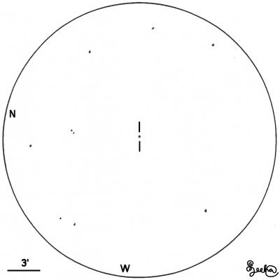 Visuaalihavainto CTA-102 kvasaarista. Piirros: Juha Ojanperä.