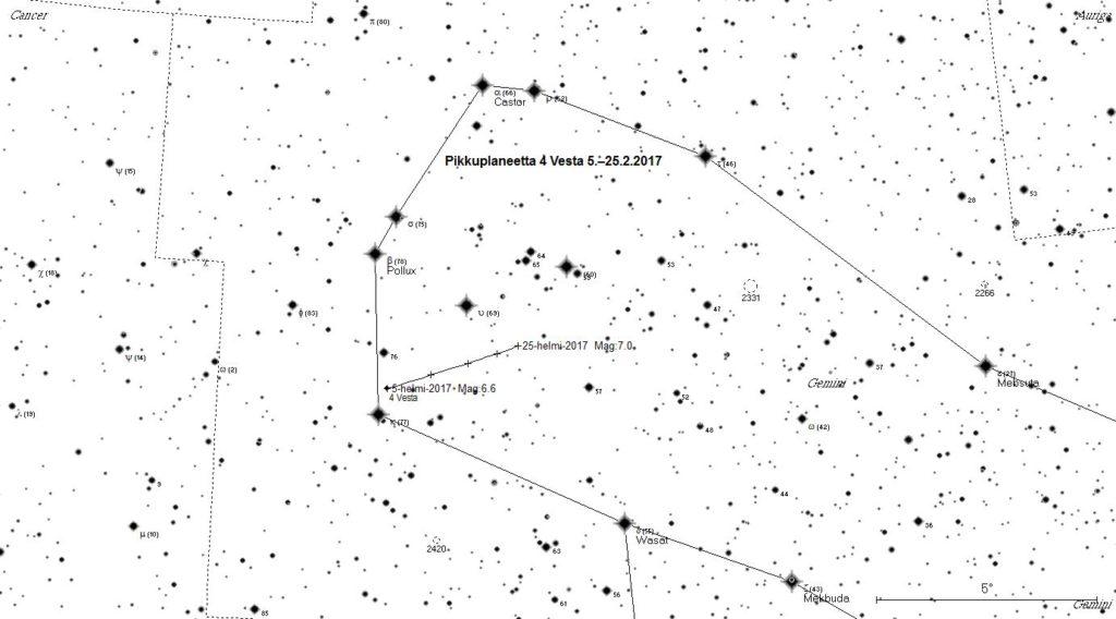 Pikkuplaneetta 4 Vesta on hyvin havaittavissa helmikuussa.