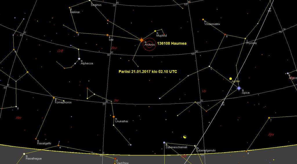 Kuva 1. Kääpiöplaneetta Hyamean paikka Pariisin taivaan alla 21.1.2017 klo 2.10 UT. Haumea on TelRad-etsimen ympyröiden keskipisteessä.