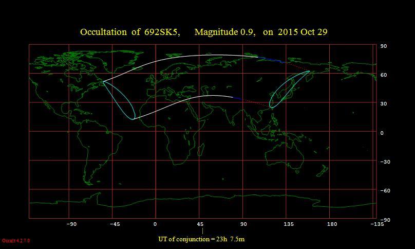 Kuva 1. Tähdenpeiton tavallisin tapaus. Härän Aldebaran peittyi karttaan merkityllä alueella Kuun taakse 29./30.10.2015.