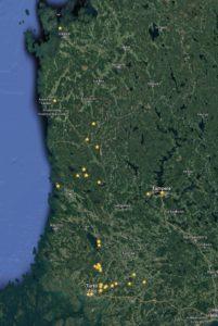 Muutamia karttamerkintöjäni, Google/Matti Helin