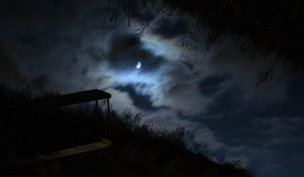 Kuu pilvien takana, joen pinnassa