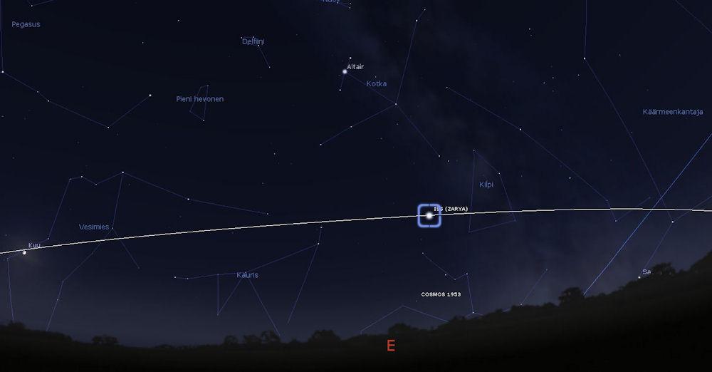 Avaruusasema ISS lokakuun 3. päivän iltana 2017 kello 20.17 (Kuva: Stellarium)