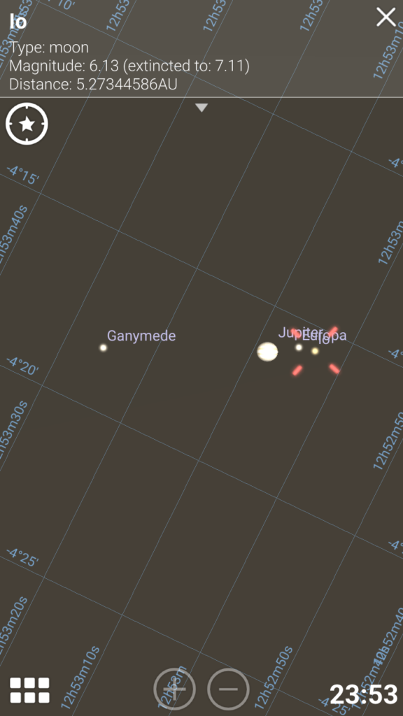 Jupiter kuineen Stellariumissa