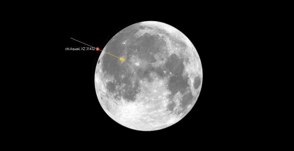 Kuva 2: Vesimiehen khi Aquarii -tähti peittyy Helsingissä 4. lokakuuta klo 1.40.21 huomattavan pullean Kuun pimeän reunan taakse. Oulussa tähti peittyy klo 1.38. Kuvan nuoli kertoo tähden matkan Kuun suhteen puolen tunnin aikana.