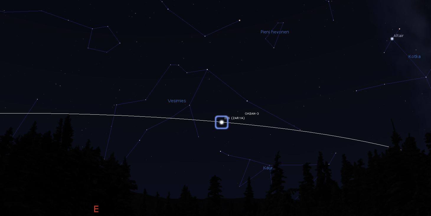 Avaruusasema ISS etelärannikon horisontissa 6.12. illalla kello 18.46 (Kuva: Stellarium)