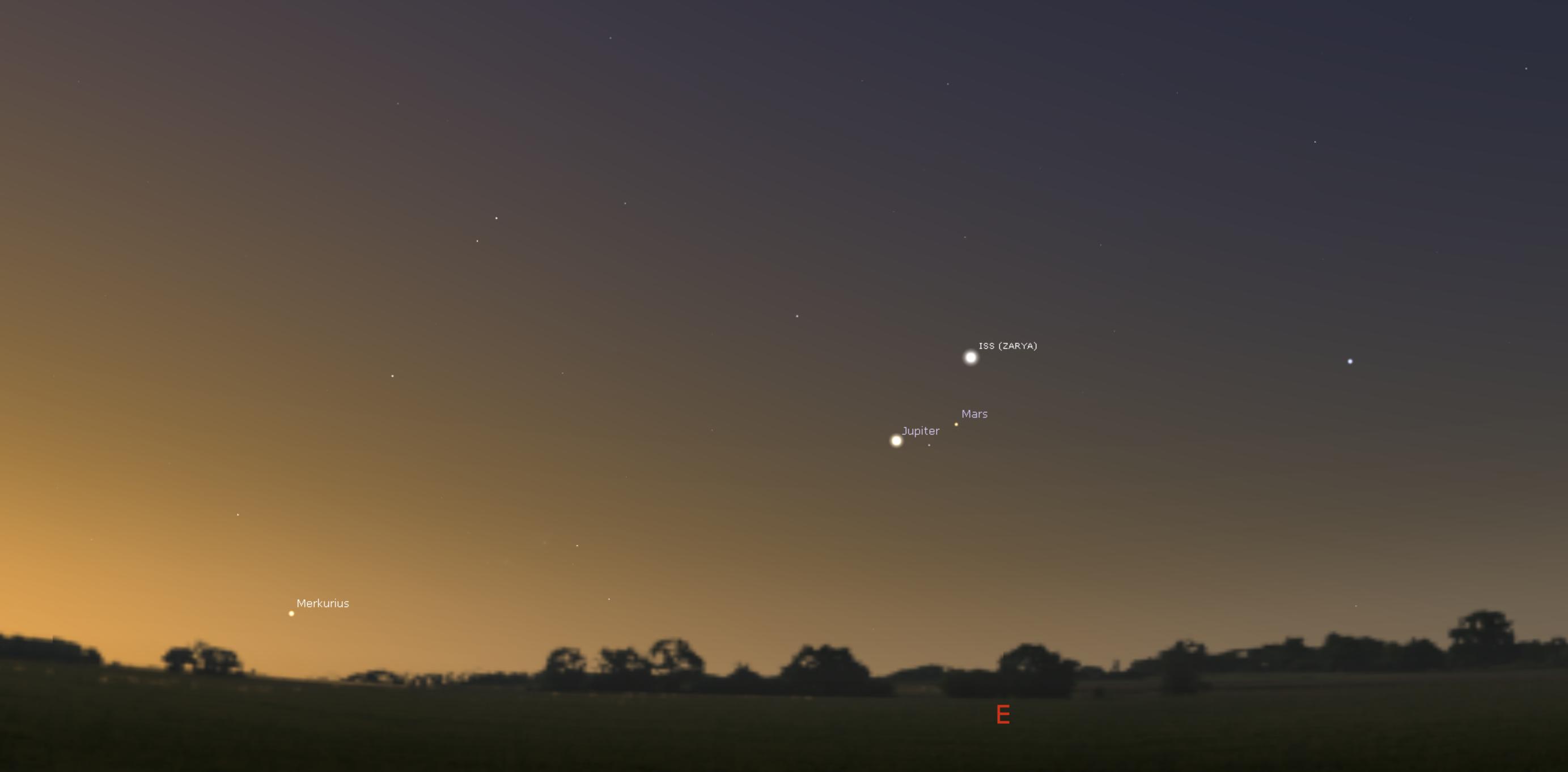 Avaruusasema kohtaa Jupiterin ja Marsin 31.12. aamulla kello 8.17. /Kuva: Stellarium)