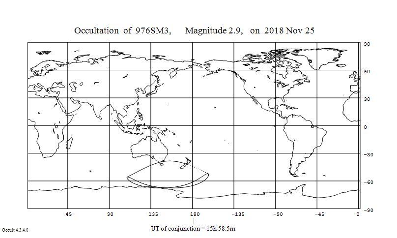Tähden myy Geminorum, Tejat ensimmäisen havaittavan peittymisen näkyvyysalue 25.11.2018. Tejat peittyy Tasmaniassa, Uudessa Seelannissa ja Etelämantereen rannikolla sekä näiden välisellä merellä. Sivuavan peittymisen pohjoinen raja kulkee Australian ja Tasmanian sekä Uuden Seelannin Etelä- ja Pohjoissaaren välissä.