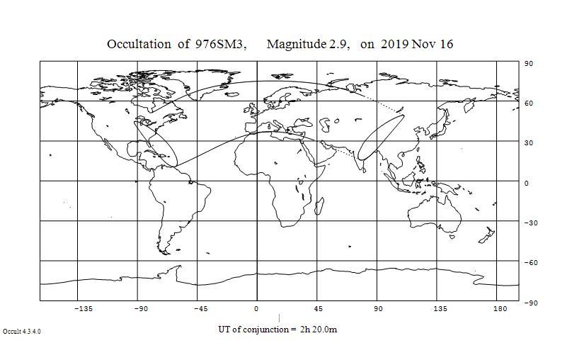 Myy Geminorum -tähden, Tejat peittyminen näkyy 16.11.2019 Pohjois-Amerikan itärannikolla, Euroopassa ja osassa Aasiaa.