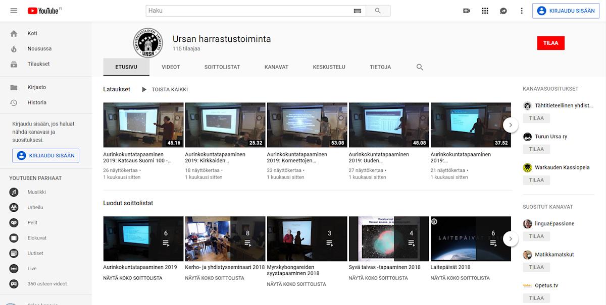 Youtube Ursan harrastustoiminta - etusivu