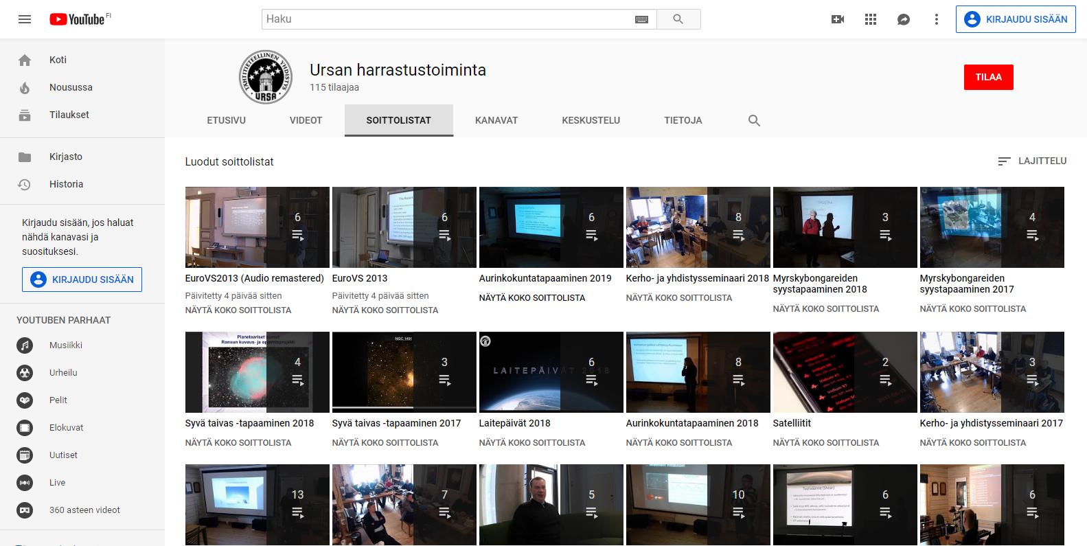 Youtube- Ursanharrastustoiminta- soittolistat