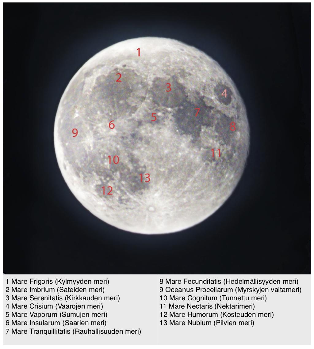 Kuun merien nimistöä