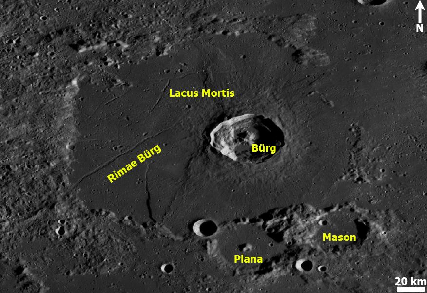 Lacus Mortis. Kartta: NASA / ASU / LRO WAC / QuickMap / T. Öhman.