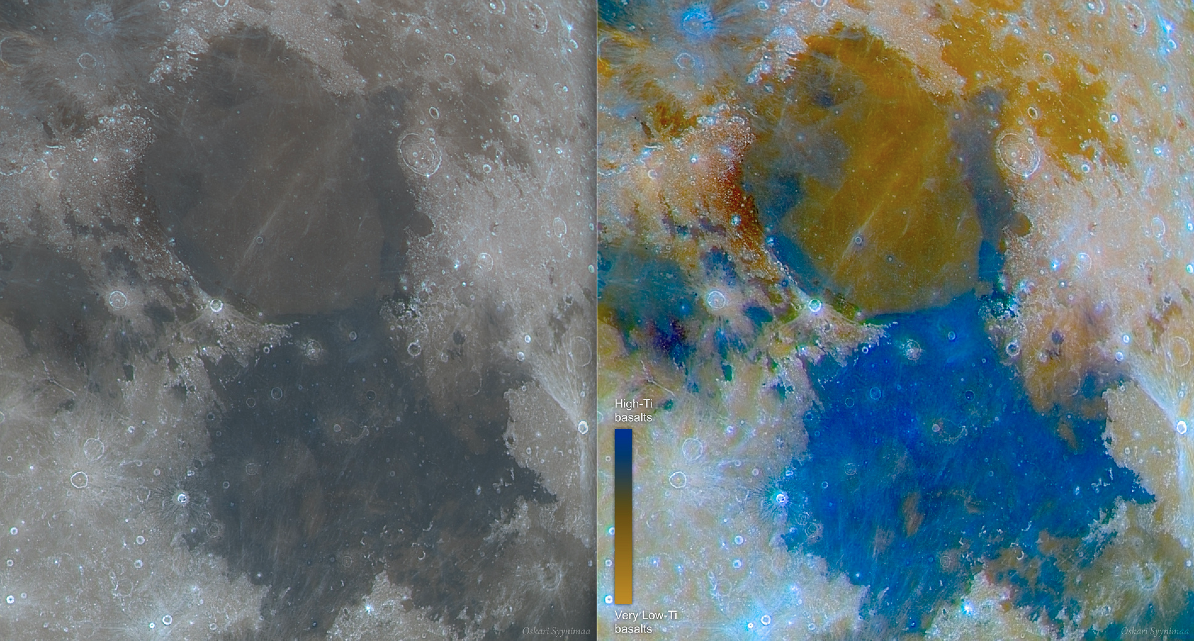 Mare Serenitatis ja Mare Tranquillitatis kuvattuna värisuodattimin 12.3.2017 klo 0.50 sekä sen pohjalta tehty basalttikartta. ASI290MM, Astronomik ProPlanet 807 IR-pass -suodin, ZWO RGB-suotimet, SW Skyliner 350P Flextube (355/1650 mm), Firecapture, Autostakkert!2, Photoshop CS6. Kuva: Oskari Syynimaa.