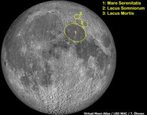 Mare Serenitatiksen, Lacus Somniorumin ja Lacus Mortiksen sijainti kartalla.