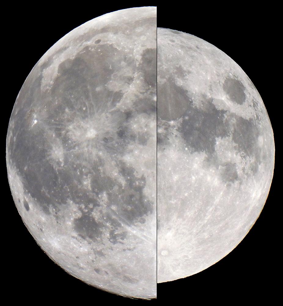 Kuun kokovertailua pienimmillään ja suurimmillaan.