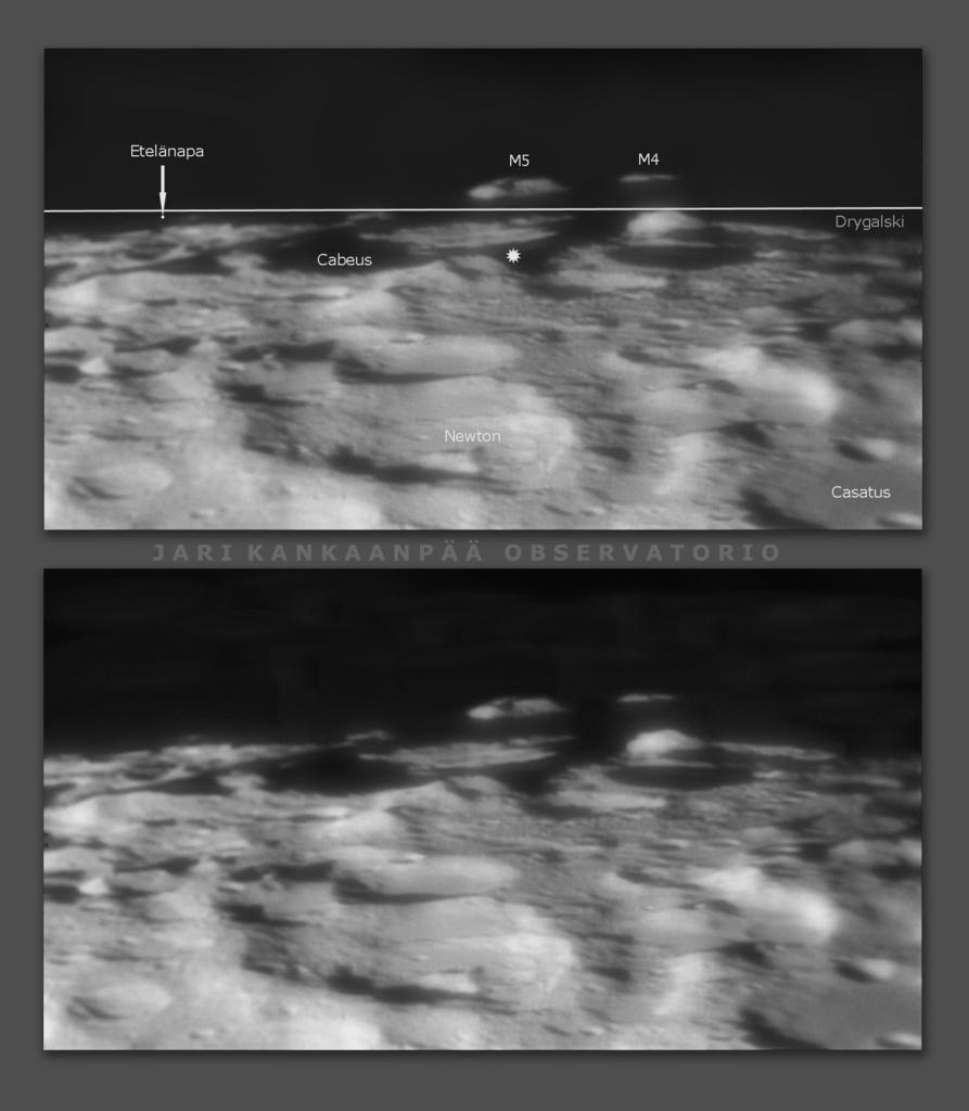 """Kuun etelänavan ympäristöä 8.4.2020 klo 23.25 – 9.4.2020 klo 0.45. 12"""" SCT, 3× Barlow, DMK-31 -kamera, infrapunasuodin. Kuva: Jari Kankaanpää."""